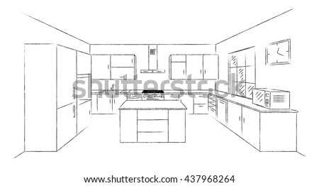 Sketch Hand Drawing Kitchen Interior Plan Stock Vector Royalty Free