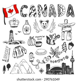 Sketch hand drawn collection of Canada symbols. Canadian culture set elements for design. Vector travel illustration with doodle lettering