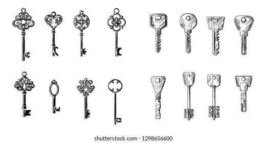 sketch hand drawn collection of keys from different styles old modern vintage vector illustration