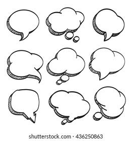 Sketch of hand drawn comic speech bubble, template design element, Vector illustration