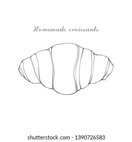 Sketch hand drawn Croissant vector illustration eps10 , Sketch Croissant vintage style on white background, Home Mate Croissant.