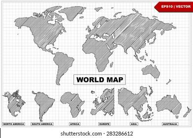 Sketch of Hand drawn doodle  world map Line  ,vector illustration