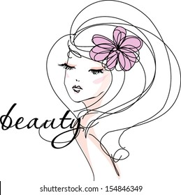 sketch hand drawn woman�s face, make up girl fashion and beauty illustration