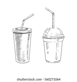 Sketch hand drawn illustration of plastic cup for soda pop and milk cocktail. Vector monochrome illustration.