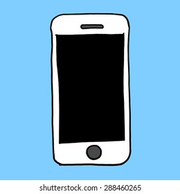 Sketch hand drawn illustration of smart phone cell device with blank screen