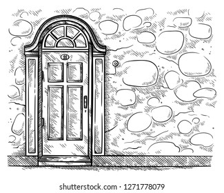 sketch hand drawn old old wooden door in stone wall vector illustration