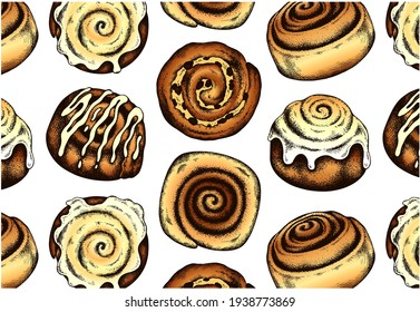Sketch hand drawn pattern with brown frosted cinnamon rolls isolated on white background. Cinnamon bun with raisins, topping, glaze, icing. Drawing food for bakery, dessert menu. Vector illustration