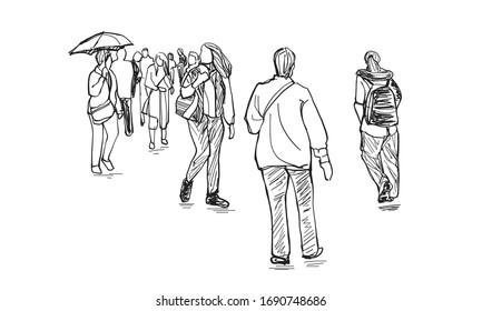 Sketch hand drawn people walking, outline vector eps10.