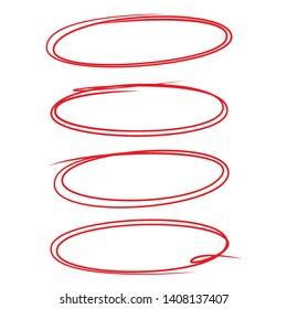 sketch hand drawn red oval highlighter and marker set