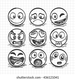 Sketch of hand drawn set of cartoon emoji. Vector illustration