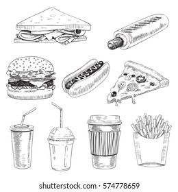 Sketch hand drawn set of fast food. Vector Illustration of club sandwich,  hot dog, burger, pizza, french fries, drinks.