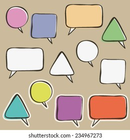 sketch hand drawn single speaking bubble, dialog template, collection of some isolated design objects
