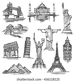 Sketch of hand drawn tourist places, template design element, Vector illustration