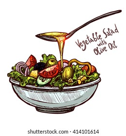 Sketch Hand Drawn Vegetable Salad With Spoon Of Olive Oil