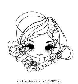 sketch hand drawn woman ace, big eye fashion girl illustration