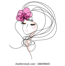 sketch hand drawn woman face, make up girl fashion and beauty illustration with  flower hair accessories