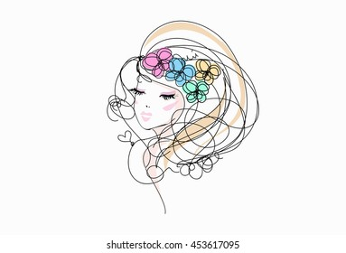 sketch hand drawn woman face, make up girl fashion and beauty illustration with four flower hair accessories