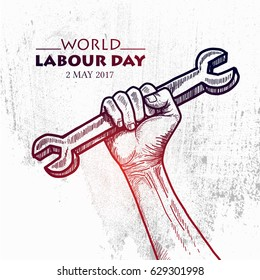 Sketch of Hand hold a wrench for World Labour day1 May with Grunge Background. Vector Illustration