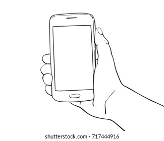 Sketch of hand holding mockup smartphone, Hand drawn vector line art illustration isolated on white background