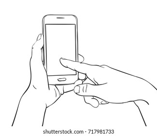 Sketch of hand holding mockup smartphone and finger pressing blank screen, Hand drawn vector line art illustration isolated on white background