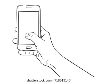 Sketch of hand holding mockup smartphone and thumb pressing blank screen, Hand drawn vector line art illustration isolated on white background