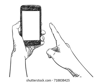Sketch of hand holding mockup smartphone and finger pointing blank screen, Hand drawn vector illustration with hatched shade isolated on white background