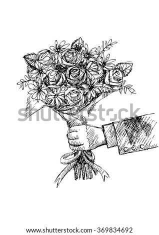 Sketch Hand Holding Rose Flowers Stock Vector Royalty Free
