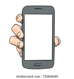 Sketch of hand showing mockup smartphone, Template for advertising banner, Hand drawn vector colored line art illustration isolated on white background