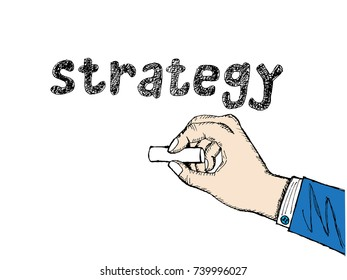 """sketch of hand writing """"strategy"""" with chalk hand drawn"""