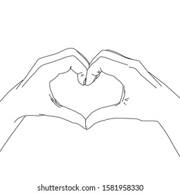 Sketch of hands showing heart shape gesture, Hand drawn line art illustration