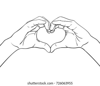 Sketch of hands showing heart shape gesture, Hand drawn vector line art illustration
