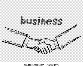 """sketch of handshake with """"business"""" text hand drawn"""