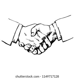 Sketch of handshake. Symbol of friendship, partnership, successful negotiating, business agreement. Hand drawn vector illustration isolated on white background.