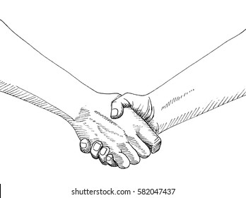 Sketch of handshaking isolated on white