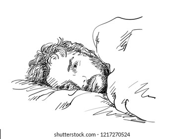 Sketch of handsome bearded man laying in bed with sleepy open eyes, Hand drawn vector illustration with cross hatching