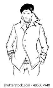 Sketch. Handsome stylish man showcasing street fashion
