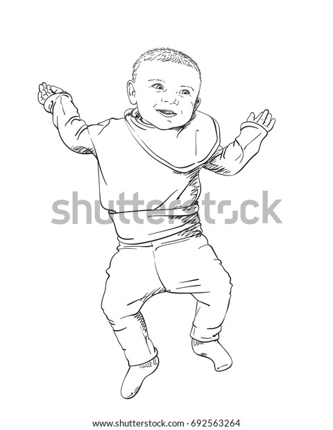 Sketch of happy smiling baby lies on back with hands up, Hand drawn hatched vector illustration isolated on white background view from top