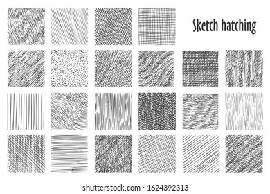 Sketch hatching patterns, abstract hand drawn vector backgrounds. Linear pencil sketch and doodle patterns, crossed, wavy and parallel lines, hatch sketching graphic texture