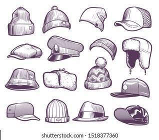 Sketch hats. Fashion mens caps design. Sports and knitted, baseball and trucker cap, seasonal headwear drawing vector fur warm earflaps collection