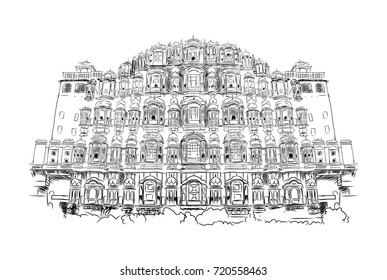 Sketch of Hawa Mahal Jaipur, rajasthan, India in vector illustration.