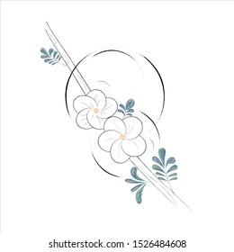 Sketch hawthorn flowers vector illustration.