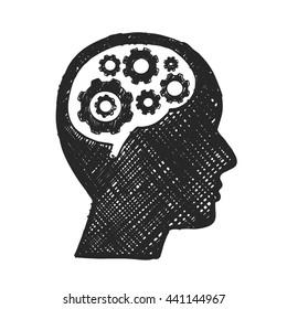 Sketch head brain gear, Business man, Vector illustration