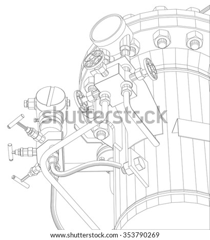 Sketch Heat Exchanger Shafts On White Stock Vector Royalty Free