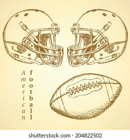 Sketch helmet and american football ball, background