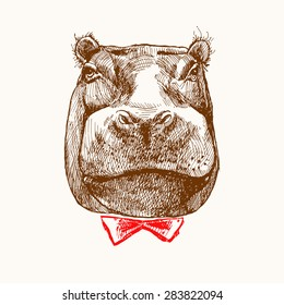 Sketch of hippopotamus head. Hand-drawn brown Hippo. Hippo with butterfly. Stylish hippopotamus. Portrait in retro style.