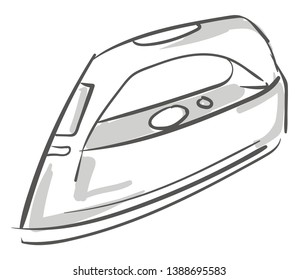 Sketch of a hollow white-colored flatiron heated by inserting a hot iron core equipped with many buttons for its operation  vector  color drawing or illustration