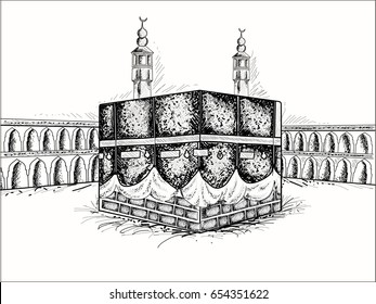 Sketch of Holy Kaba Shareef, Religious Place of Islamic Community.