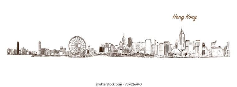 Sketch of Hong Kong City Skyline in vector illustration.