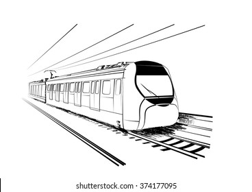Sketch of Hong Kong Train
