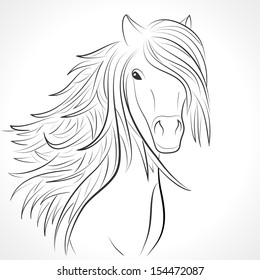 Sketch of horse head with flying mane on white background. Vector illustration for your animal background. Beautiful, thick and rich hair of horse.